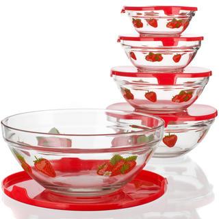 Skleněné misky na potraviny 5 ks jahody, BANQUET
