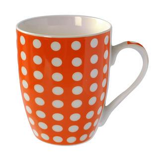 Keramický hrnek Baňák 400 ml oranžový s puntíky, BANQUET