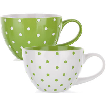 Keramické hrnky zelený puntík, BANQUET