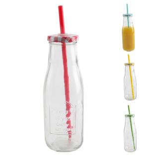 Skleněná láhev STRAW s víčkem a brčkem