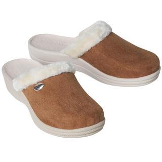 Dámské domácí pantofle s kožíškem hnědé