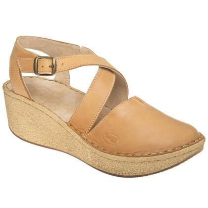 Dámské sandály s plnou špičkou světle hnědé