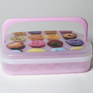 Plastový box na pečivo a cukroví růžový