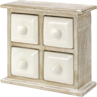 Dřevěná skříňka se 4 keramickými zásuvkami