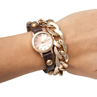 Dámské náramkové hodinky s řetízkem hnědé
