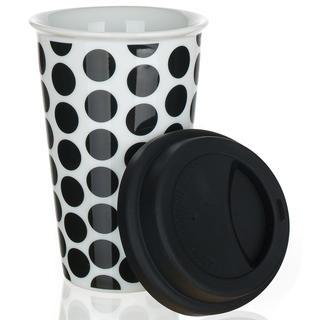 Dvoustěnný hrnek se silikonovým víčkem COLOR PLUS černý, BANQUET