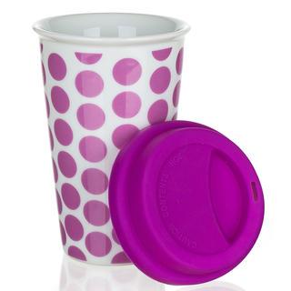 Dvoustěnný hrnek se silikonovým víčkem COLOR PLUS fialový, BANQUET