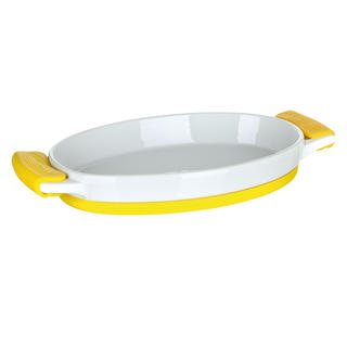 Zapékací mísa oválná se silikonovými rukojeťmi žlutá, BANQUET