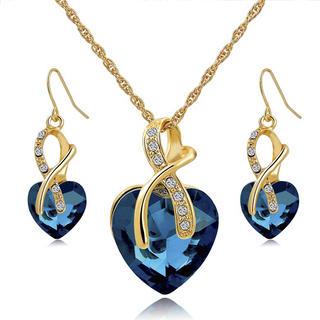 Řetízek a naušnice s modrým kamenem