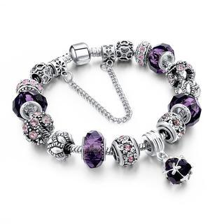 Náramek s krystaly a korálky fialový