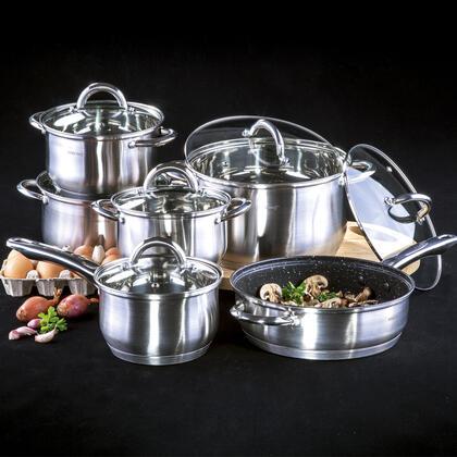 Nerezové nádobí s nepřilnavým povrchem 12 dílů