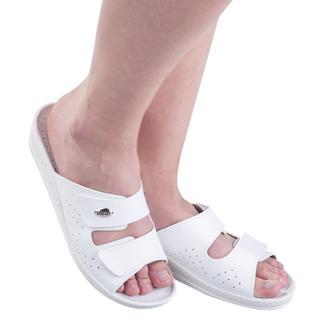 Dámské kožené pantofle s pásky na suchý zip bílé