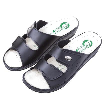 Dámské kožené pantofle s pásky na suchý zip černé