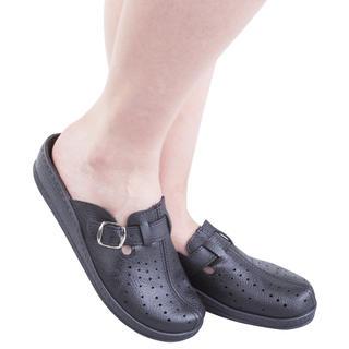 Dámské pantofle s plnou špičkou a přezkou černé