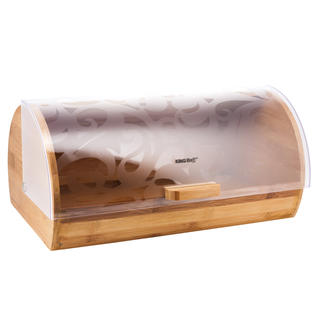 Dřevěný chlebník se zdobenými dvířky
