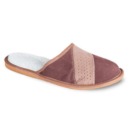 Pánská domací obuv kožená hnědá