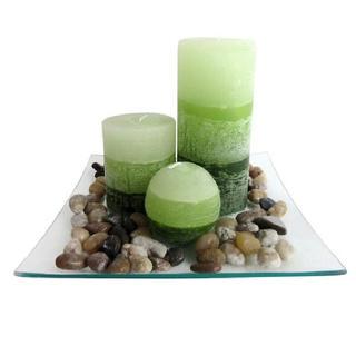 Vonné svíčky na skleněném podnosu s kameny Zelený čaj