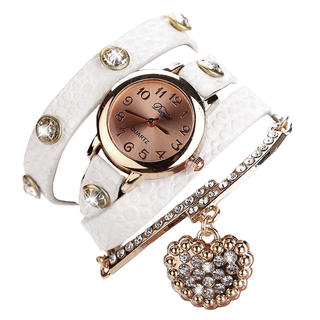 Náramkové hodinky se zlatým přívěskem bílé