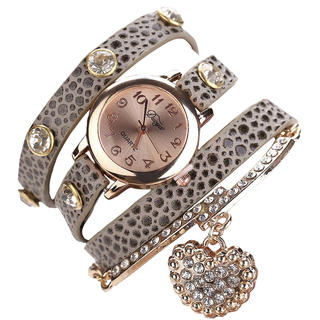 Náramkové hodinky se zlatým přívěskem šedé