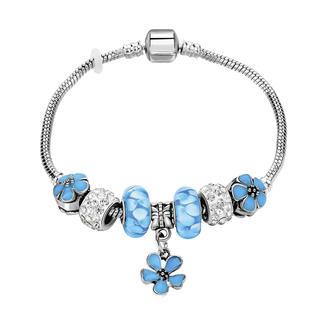 Dámský náramek s korálky modrý