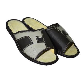 Pánské domácí kožené pantofle se vzorem