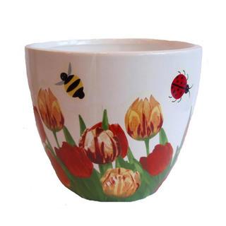 Keramický květináč Tulipány a broučci