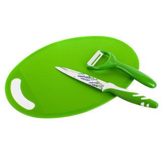 Škrabka, nožík a plastové prkénko Lavender Green, BANQUET 3 ks