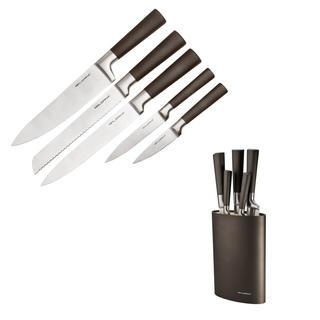 Nerezové nože v černém oválném bloku