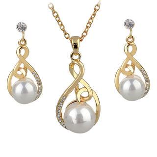 Řetízek s perlou a náušnice zlatý