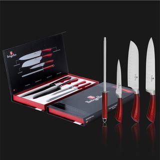 Nerezové nože Burgundy Metallic Line 4 ks