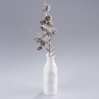 Zápich do květináčů ojíněná větvička se šiškami