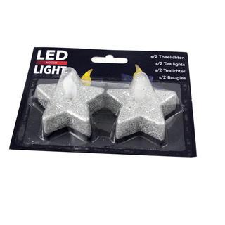 LED čajová svíčka Hvězda stříbrná 2 ks