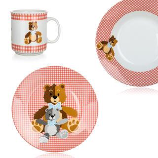 Dětská jídelní sada Medvídci 3 ks červená, BANQUET