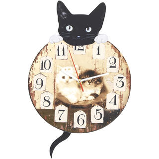 Nástěnné hodiny s kočkou