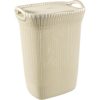 Koš na špinavé prádlo pletený KNIT Curver 57 l krémový