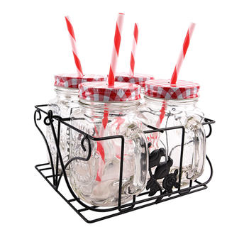 Dekorované sklenice s víčkem a brčkem ve stojanu