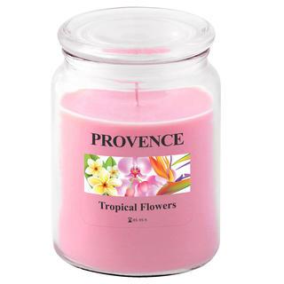 Svíčka ve skle s víčkem, tropické květy
