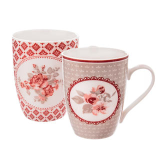 Sada porcelánových hrnků LOVE ROSE 2 ks