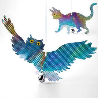 Závěsný plašič ptáků reflexní kočka a sova, sada 2 kusů