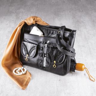 Dámská kožená kabelka s kapsou na deštník
