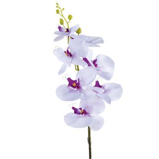 Umělá ORCHIDEJ výhon bílo - fialová 87 cm