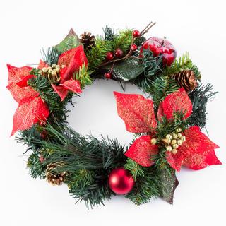 Umělý vánoční věnec POINSETTIE 30 cm
