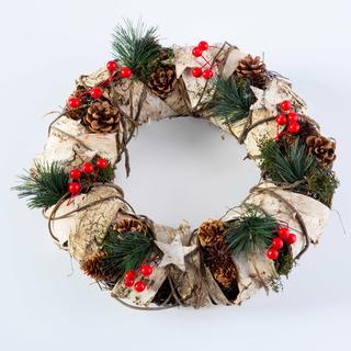 Vánoční věnec s březovou kůrou přírodní 32 cm