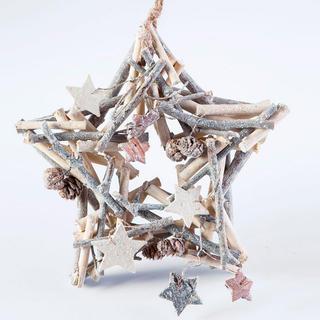 Vánoční dřevěná dekorace hvězda 24 cm