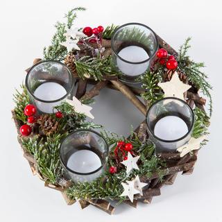 Adventní věnec s kalíšky na čajové svíčky 25 cm