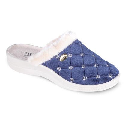 Dámské pantofle s mikroplyšem tmavě modré
