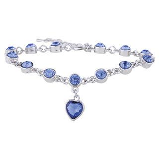 Náramek s modrými krystaly a srdíčkem