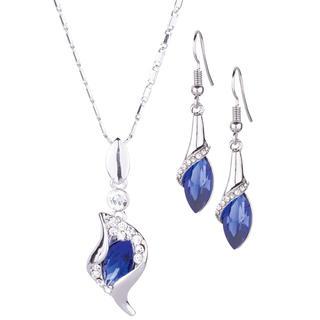 Souprava náhrdelníku a náušnic s modrými kameny
