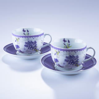 Sada porcelánových šálků s podšálky Levandule  2 ks