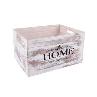 Dřevěná dekorační bedýnka HOME